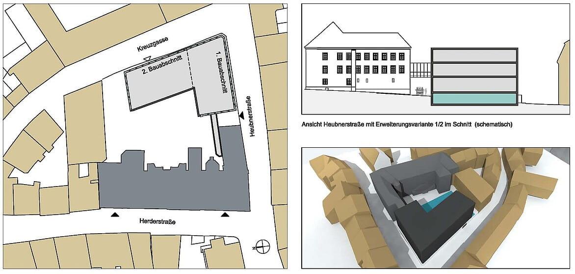 Lageplan: In der linken Darstellung ist in dunkelgrau das Herderhaus zu sehen, in hellgrau der geplante Depot-Anbau mit Tiefgarage.
